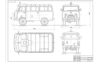 Чертеж УАЗ-452, общий вид