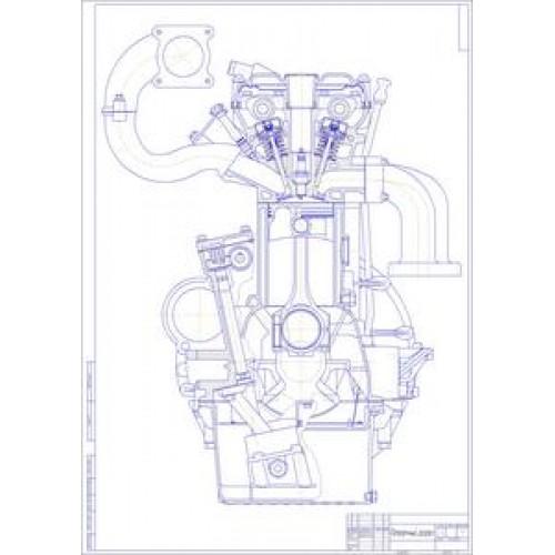 Чертеж двигателя ЗМЗ-409 в поперечном разрезе.