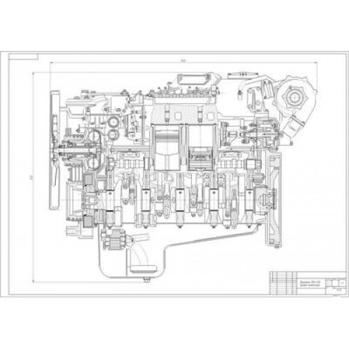 Чертеж двигателя ЯМЗ-238 в