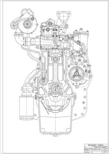 Чертеж двигателя Д-245.7 в