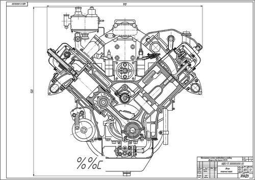 Чертеж двигателя ЯМЗ-236 в