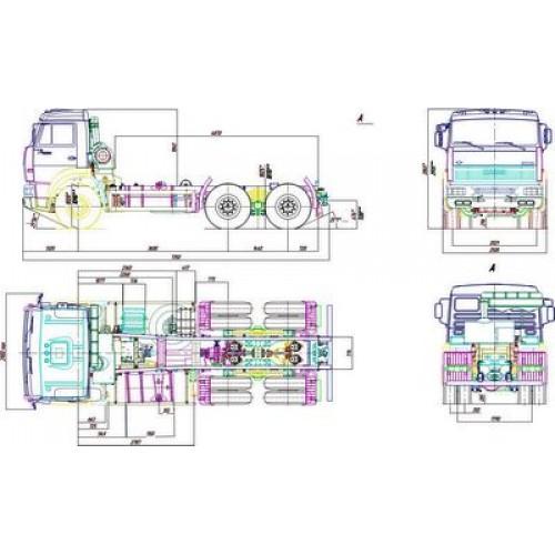Чертеж шасси КамАЗ-6520-1020-